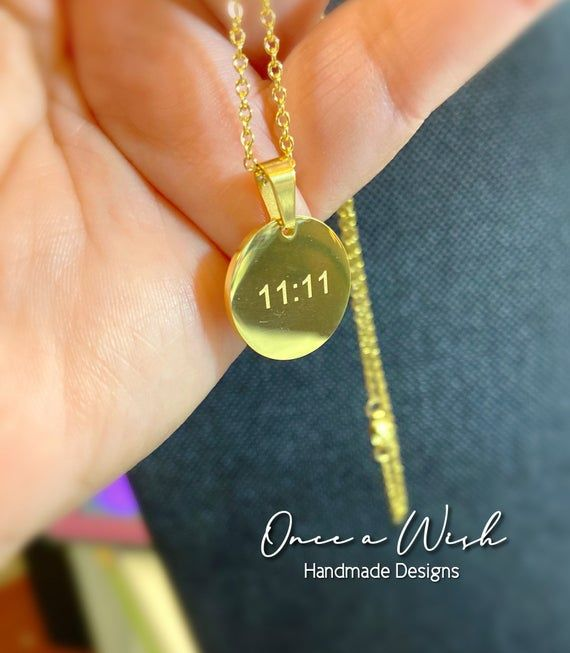 11 11 Necklace Make A Wish Gold Necklace Stainless Steel Jewelry Spiritual Symbol Attract Money Bridesmaid Gift Mother Gift 11 Delicate Necklace Gold Necklace Evil Eye Jewelry