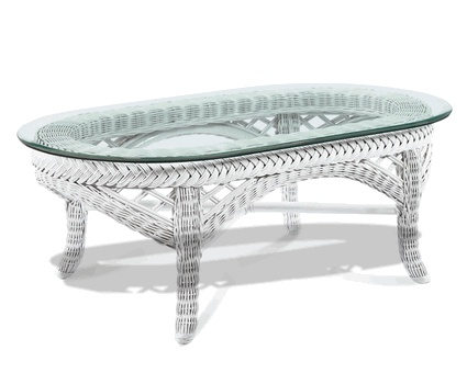 Lanai Oval White Wicker Coffee Table With Glass Top Via @Wicker Paradise # Coffee #