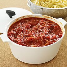 Tomato Sauce with Ground Beef.I want to try this over roasted eggplant..
