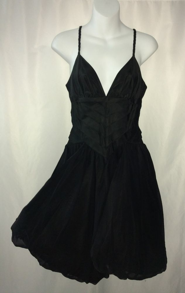 bebe Little Black Dress Gothic Rockabilly Silk Tulle Pin Up Tie Bubble Skirt S | Clothing, Shoes & Accessories, Women's Clothing, Dresses | eBay!