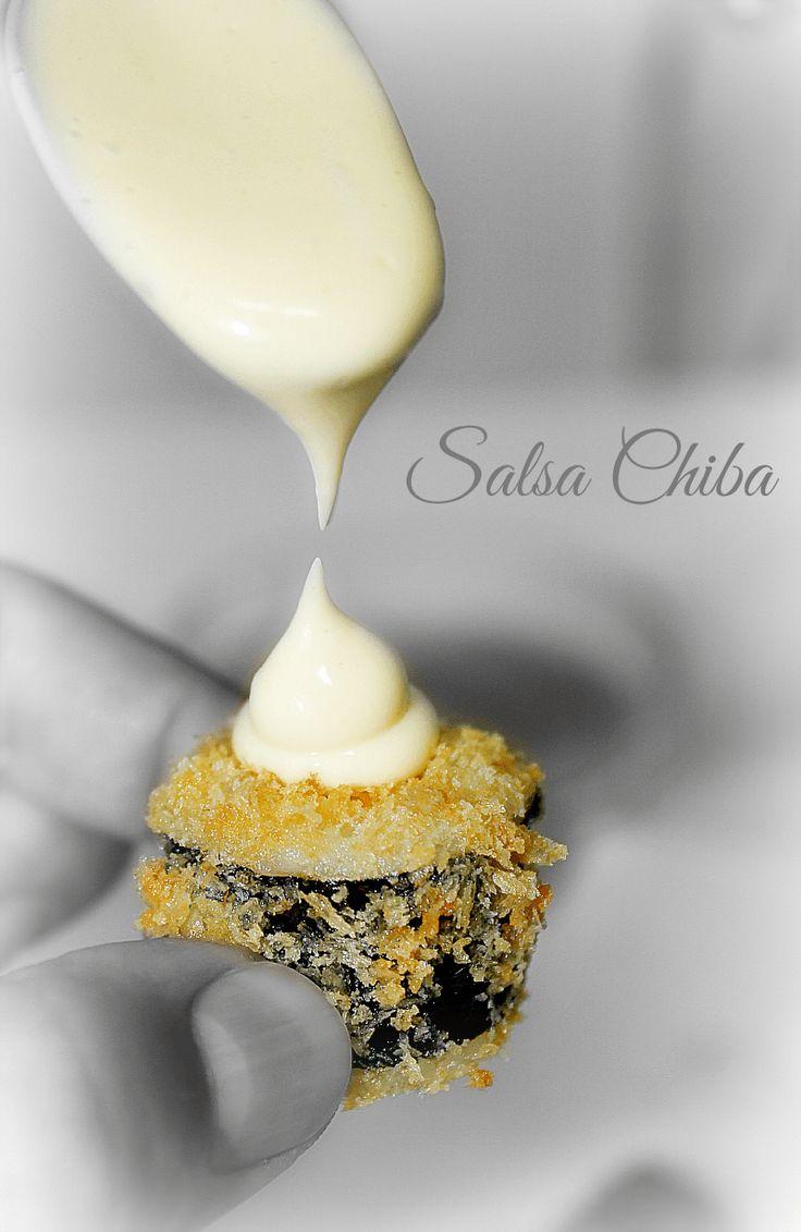 Salsa Chiba: 150 gramos de mayonesa. (casera o de bote) 2 cucharadas de nata de cocinar. 1-2 cucharadas de salsa de soja. 1 cucharadita de pasta de wasabi