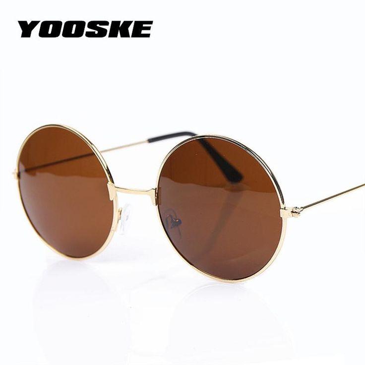 YOOSKE Classic Spherical Sun shades For Girls Males Model Designer Mirrored Glasses Retro Feminine Male Solar Glasses Males's Girls's