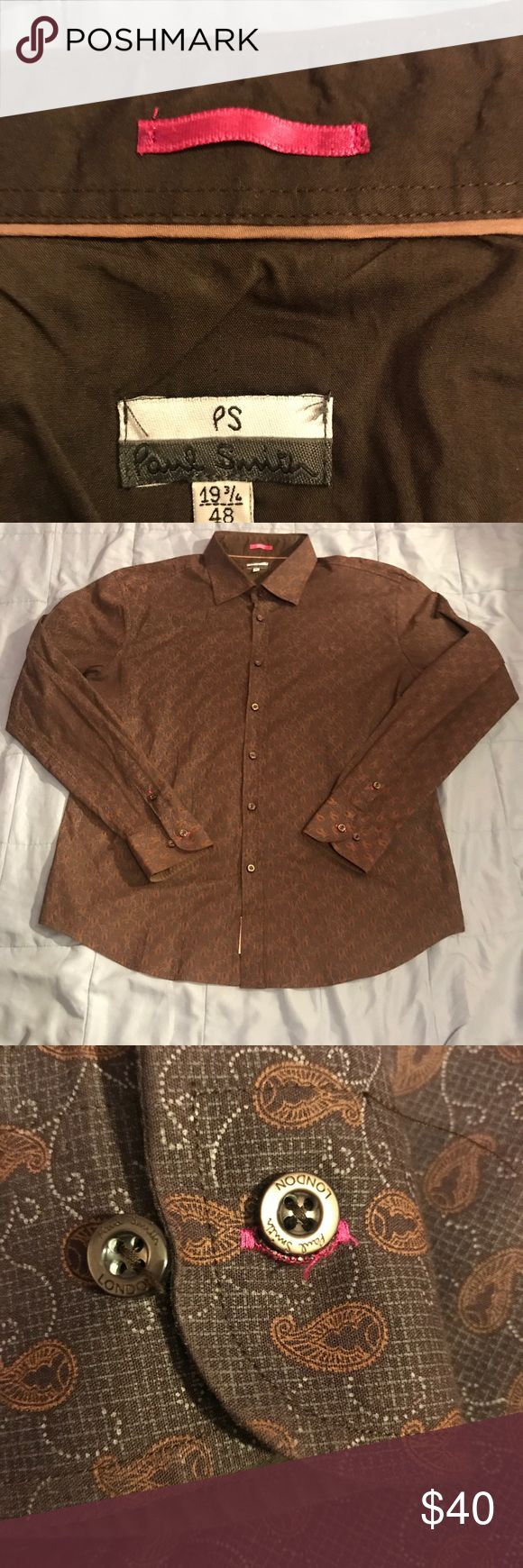 PUAL SMITH LONDON BROWN PATTERN DRESS SHIRT 100% authentic. Made in London. MSRP $300. SZ. EU 48, US. M. EXCELLENT CONDITION. Any questions about this pls contact me. Paul Smith London Shirts Dress Shirts