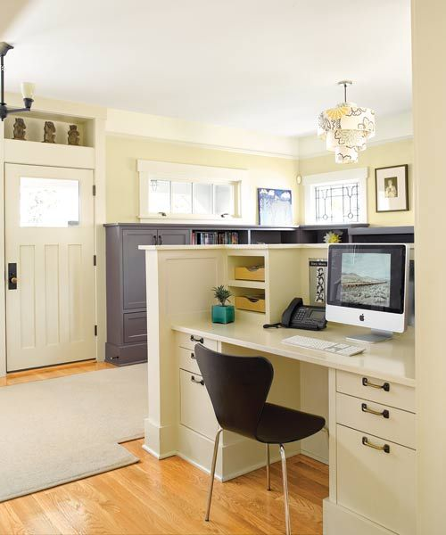 A built-in desk and command center just steps from the kitchen. | Photo: Alex Hayden | thisoldhouse.com