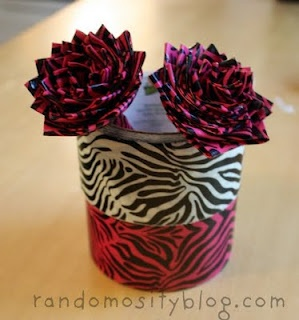 Duct tape flower pens:: LOVE THIS