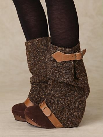 Irregular Choice Long Lashes Tweed Concealed Wedge Boots