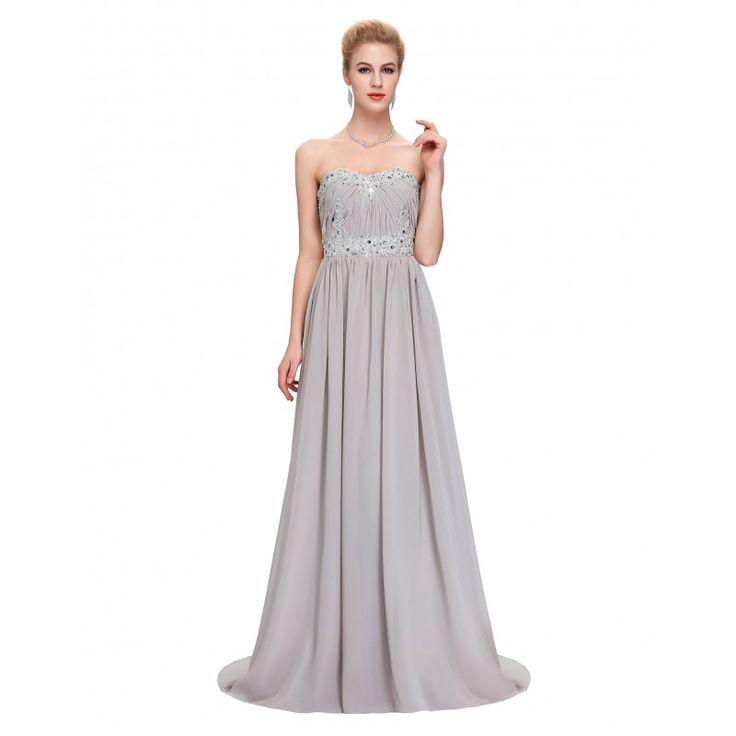 Sivé spoločenské šaty CL4427