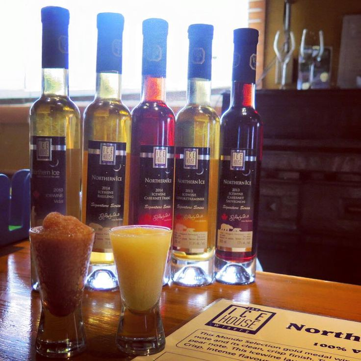 The line up of our Icewine. Such beautiful colours and we can't forget about icewine slushies !