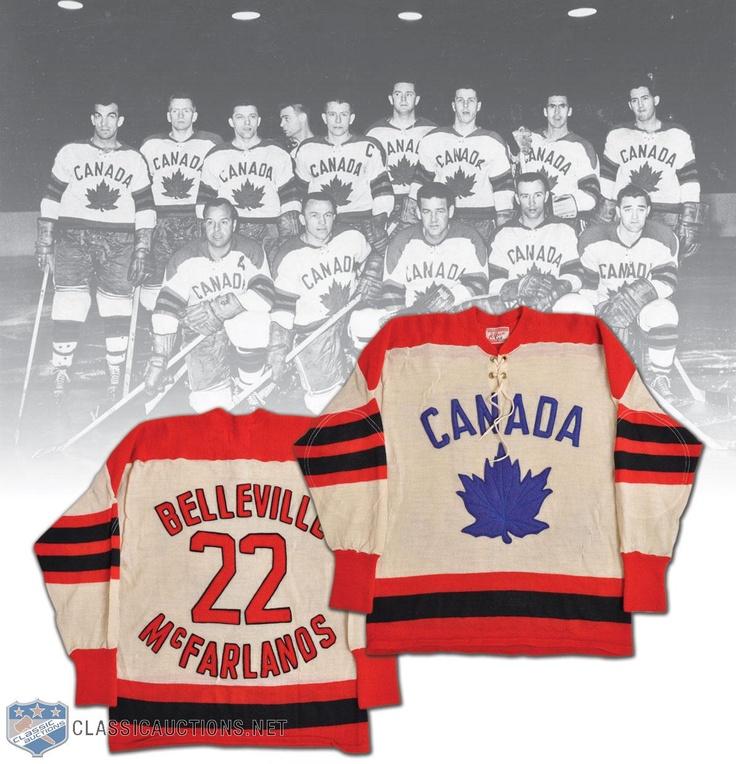 World Champion - Belleville McFarlands 1959 Team Canada Game-Worn Jersey.