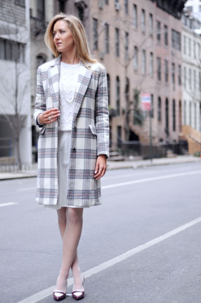 checkered coat with neutral outfit