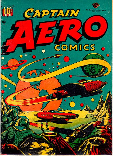 Cover art for Captain Aero issue no. 26, published by Holyoke Publishing, United States, 1946, by LB Cole.
