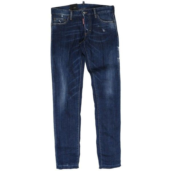 Washed Blue Cotton Slim Jean Jeans (3.625 ARS) ❤ liked on Polyvore featuring men's fashion, men's clothing, men's jeans, blue, menclothingjeans, mens slim jeans, mens slim fit ripped jeans, mens blue jeans, mens destroyed jeans and mens distressed jeans