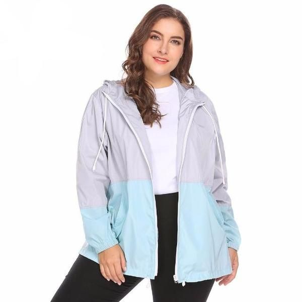 Lightweight Hooded Drawstring Patchwork Waterproof Large Basic Coat Plus Size