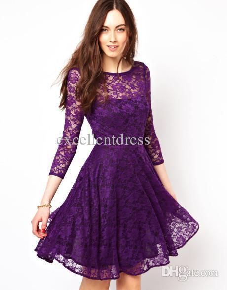 (Comes in Lavender and Light Purple) Cheap Fashion Purple Lace Short 2014 Homecoming Dresses Scoop Long Sleeves Zipper Back Mini Prom Gowns Girls Party Gown Hot Cocktail Dress Online with $69.11/Piece on Excellentdress's Store | DHgate.com