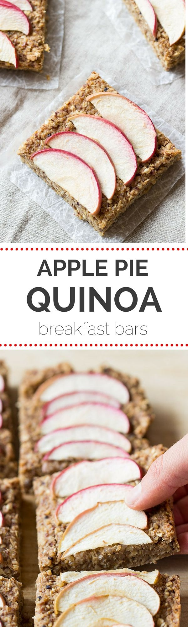 Apple Pie Quinoa Breakfast Bars -- they taste like decadent apple pie, but are actually a healthy breakfast treat. Plus they're gluten-free + vegan!