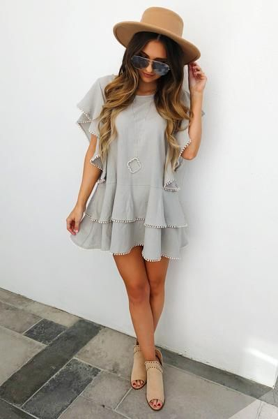 PREORDER: Pick Up The Pieces Dress: Grey/Ivory