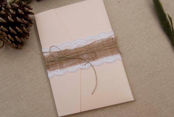 rustikale Hochzeitseinladung, Hochzeitseinladung Sackleinen, Rosa Hochzeitseinladung elegante Hochzeitseinladung auf Etsy, 1,89€