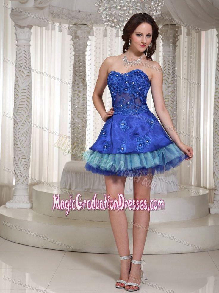 Shimmery Sweetheart Mini-length Blue Graduation Dress for 8th Grade in York