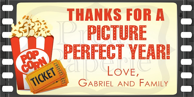 Picture Perfect Year Thank You --  printable tags to attach to little bags  of homemade carmel corn and a movie pass gift card!