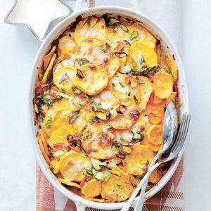 Kijk wat een lekker recept op de test-site van Allerhande! Zoete-aardappelgratin met bosui
