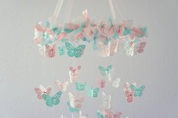 Pink & Aqua Nursery Butterfly Mobile- Nursery Decor, Crib Mobile, Baby Shower Gift