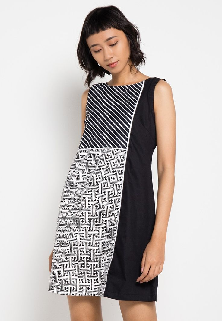 Two-Print Sleeveless Dress_1