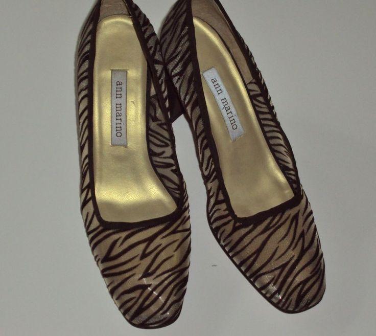 Ann Marino Shoes Classic Pumps Sheer Animal Print Mesh Fabric Brown Heels 7  M #AnneMarino