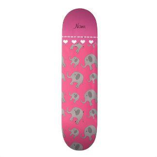 "Elefantes grises rosados conocidos personalizados patineta 7 7/8"""