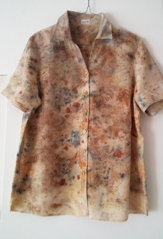 Fantastic silk  blouse for modern women - eco dyeing , handmade, unique, new, ready to ship by EcoDyeing on Etsy