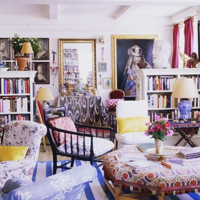 This MIGHT be my ALL-TIME favorite interior... Carolina Irving's AMAZING apartment, featured in World of Interiors & Vogue several years ago... SHEER cultivated genius... CANNOT wait to see her NEW Paris pad, in the upcoming issue of Cabana!  @carolinairving @miguelfloresvianna @voguemagazine @hollywoodathome @carolinairvingtextiles @irvingandmorrison @cabanamagazine @quintessence