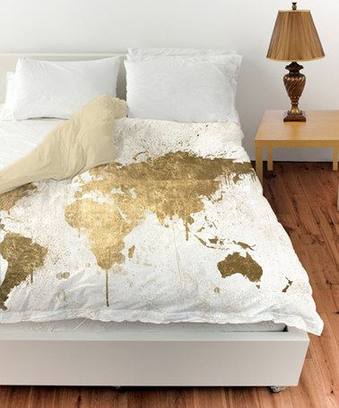 White Gold Mapamundi Duvet Cover #zulilyfinds Part 43