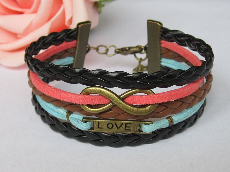 Karma Bracelet-Antique Bronze Infinitywish Bracelet, Love Bracelet & Multistrand Braid Chain Bracelet. $7.49, via Etsy.