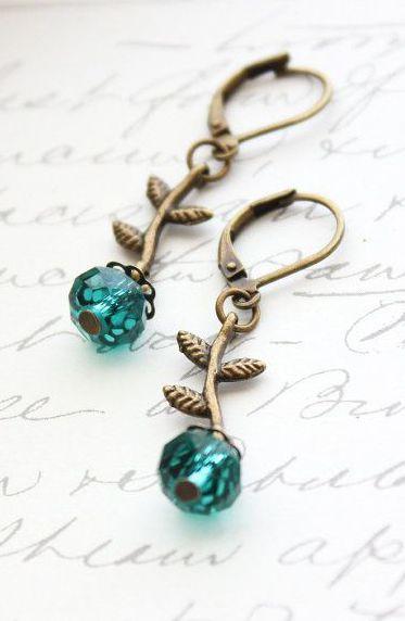 Small Dangle Earrings Emerald Green Ultramarine
