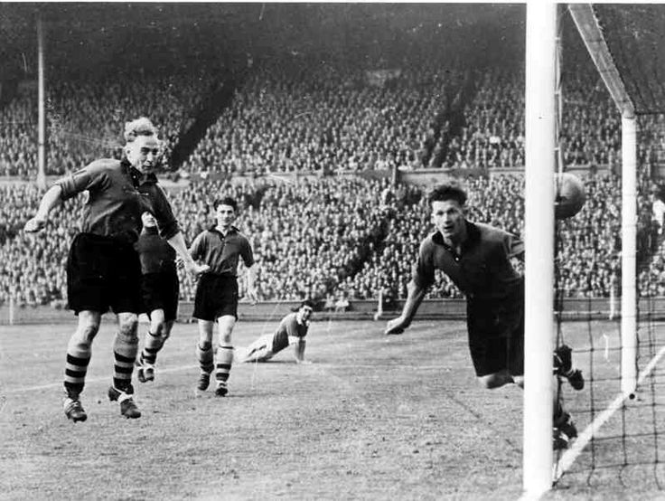 Wolves 3 Leicester City 1 in May 1949 at Wembley. Mal Griffiths scores for Leicester in the FA Cup Final.