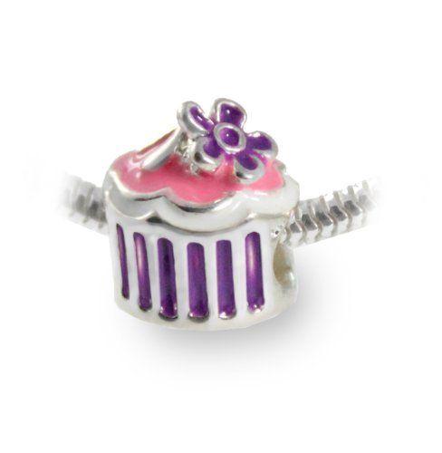 Pink Cupcake Charm Bead with Purple Flower Accent: Slide On Pandora Style Charm Bracelet Bead from Beautiful Silver Jewelry Beautiful Silver Jewelry, http://www.amazon.com/dp/B00ASNS54M/ref=cm_sw_r_pi_dp_14udrb1400XA4