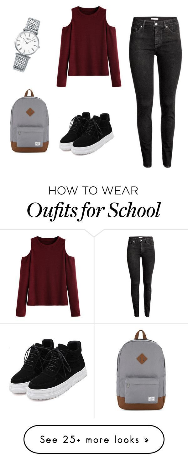 """""""Casual school outfit"""" by ralitsaboo on Polyvore featuring WithChic, H&M, Herschel Supply Co. and Longines"""