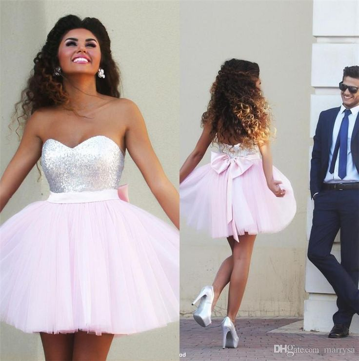 White Formal Dresses Sequin Pink Tulle Prom Dresses 2015 Sweetheart Mini Short Bow Sash Girls Special Occasion Wear Homecoming Queen Cheap Prom Dresses Under 50 From Marrysa, $113.09| Dhgate.Com