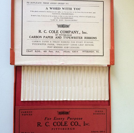R.C. Cole Co., Inc Pittsburgh, PA/Vintage Carbon Paper/Non-Smut Carbon Paper/Red Carbon Paper/Vintage Office Supplies/Stationers Supplies