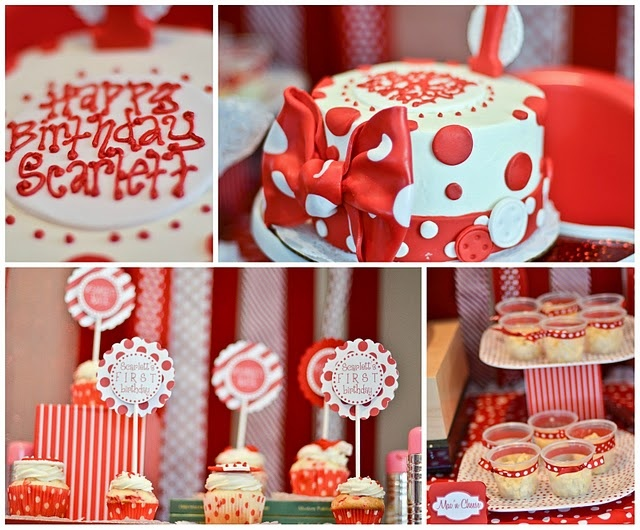 Red birthday party ideas with polka dots