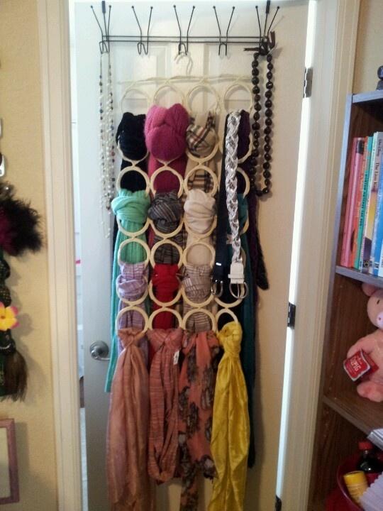IKEA scarf organizer + over the door hanger = brilliant and beautiful  display of my favorite