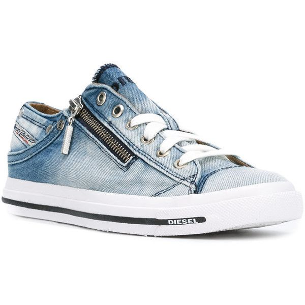 Diesel denim lace up sneakers ($139) ❤ liked on Polyvore featuring shoes, sneakers, laced sneakers, lacing sneakers, diesel trainers, laced shoes and denim shoes