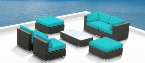 Outdoor Patio Furniture All Weather Wicker MALLINA II Modern Sofa Sectional 7pc Couch Set TURQUOISE Luxxella http://www.amazon.com/dp/B00AN9WJLG/ref=cm_sw_r_pi_dp_--TYtb03EDWC01FQ
