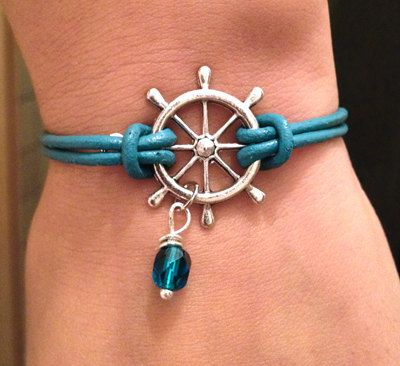 Jewelry gift: sweet little bracelets with nautical charms. Shipwheel, anchor, seahorse... $6.50