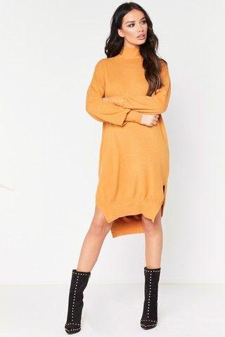 Pia Mustard Polo Neck Oversized Jumper Dress