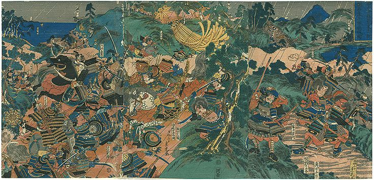 Sasaki Takatsuna at Battle of Mt.Ishibashi by Sadatora / 石橋山合戦佐々木高綱 頼朝ト名乗リテ平軍ヲ駈破ル図 貞虎