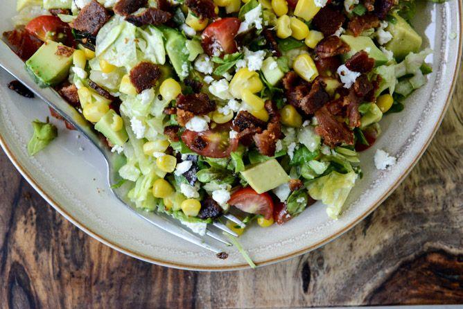 BLT Chopped Salad with Corn, Feta + Avocado I howsweeteats.com