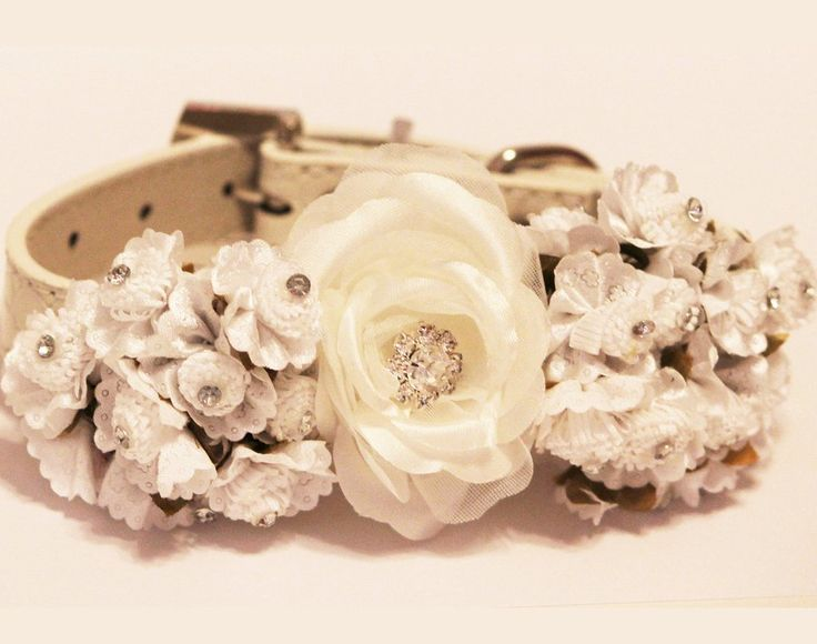 White Floral Dog Collars, Pet wedding accessory