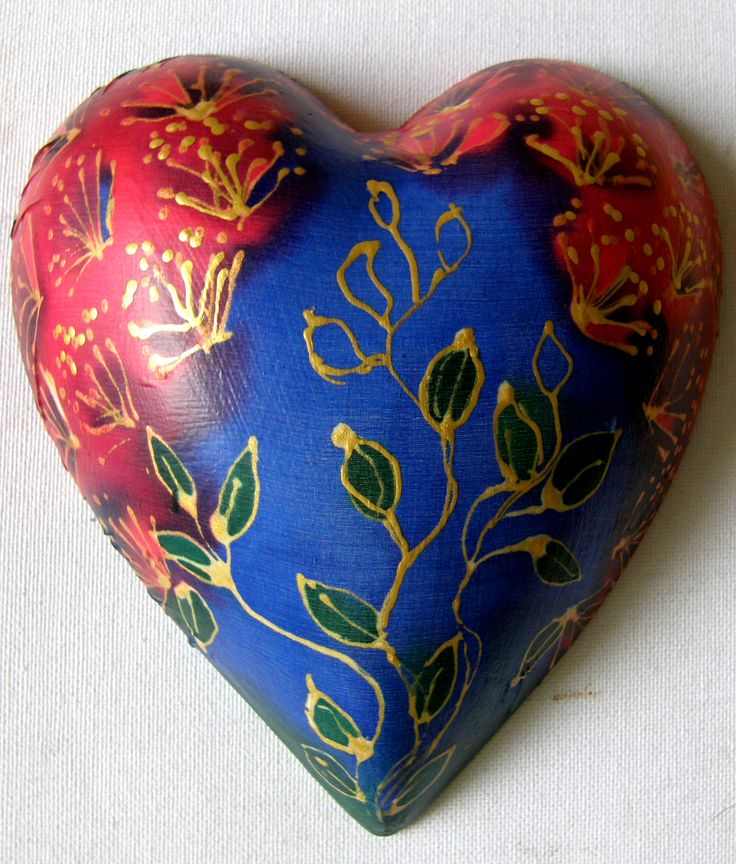 A Pohutukawa Painting on silk and then decoupaged onto a ceramic heart. Good fun to do but quite messy!!! www.satherleysilks.co.nz