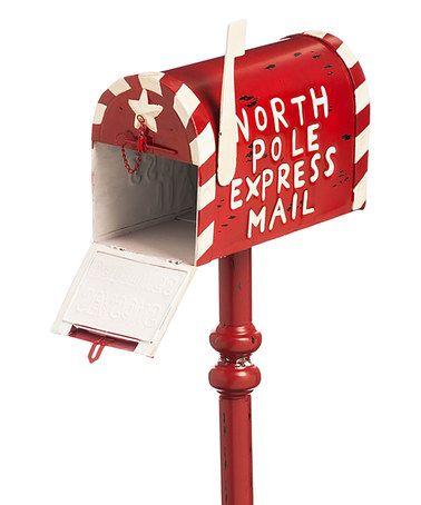 Red 'North Pole Express Mail' Mail Box Décor #zulily #zulilyfinds