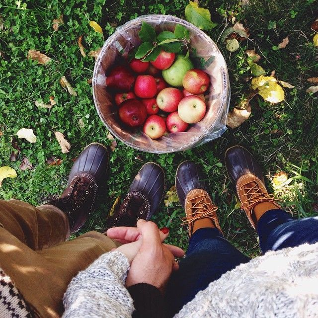 We ❤️ apples. #applepicking #holdinghands #beanboots
